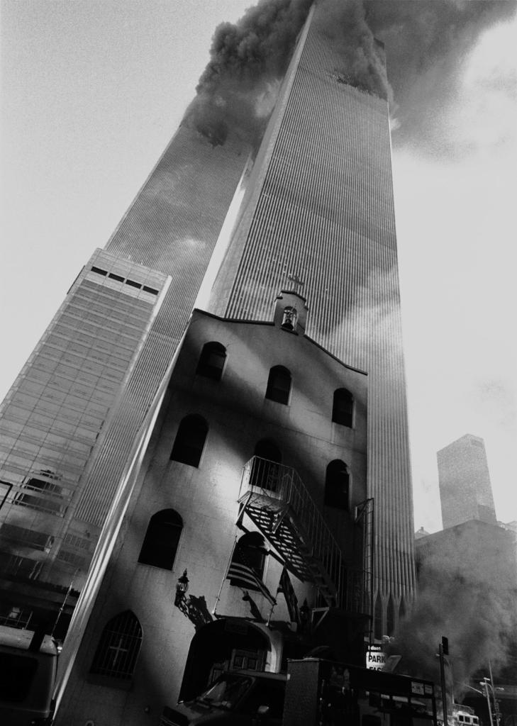 Black and white photograph of the Greek Orthodox Church and Towers, by Eric O'Connell, September 11, 2001